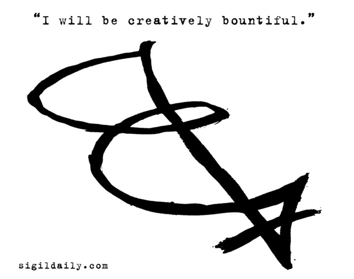 """I will be creatively bountiful."" Brush and ink."