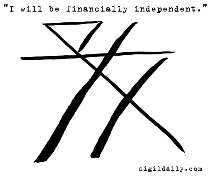 """I will be financially independent."" Brush and ink."